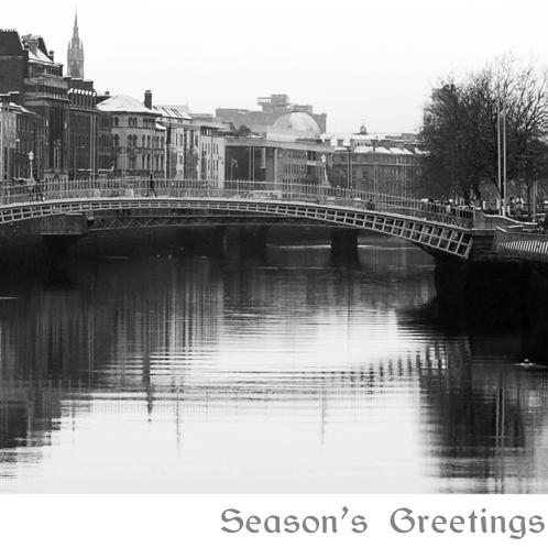 hapenny bridge dublin, dublin snow, dublin christmas cards, corporate christmas cards dublin, catherine dunne christmas, irish christmas cards, holiday cards ireland, irish made christmas cards