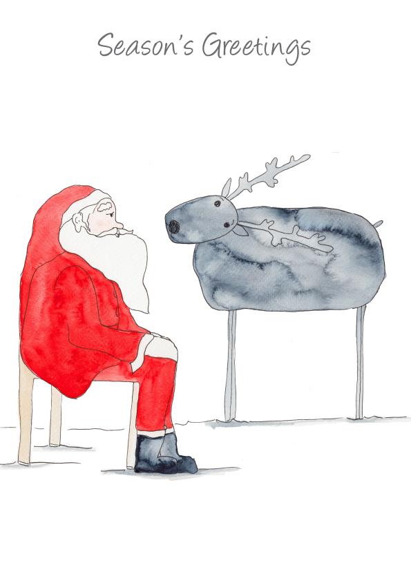 Season's Greetings - Santa and Reindeer