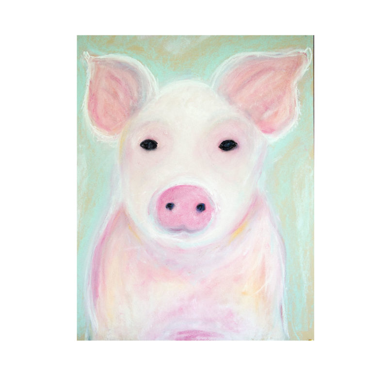 Piglet in pastel by Catherine Dunne