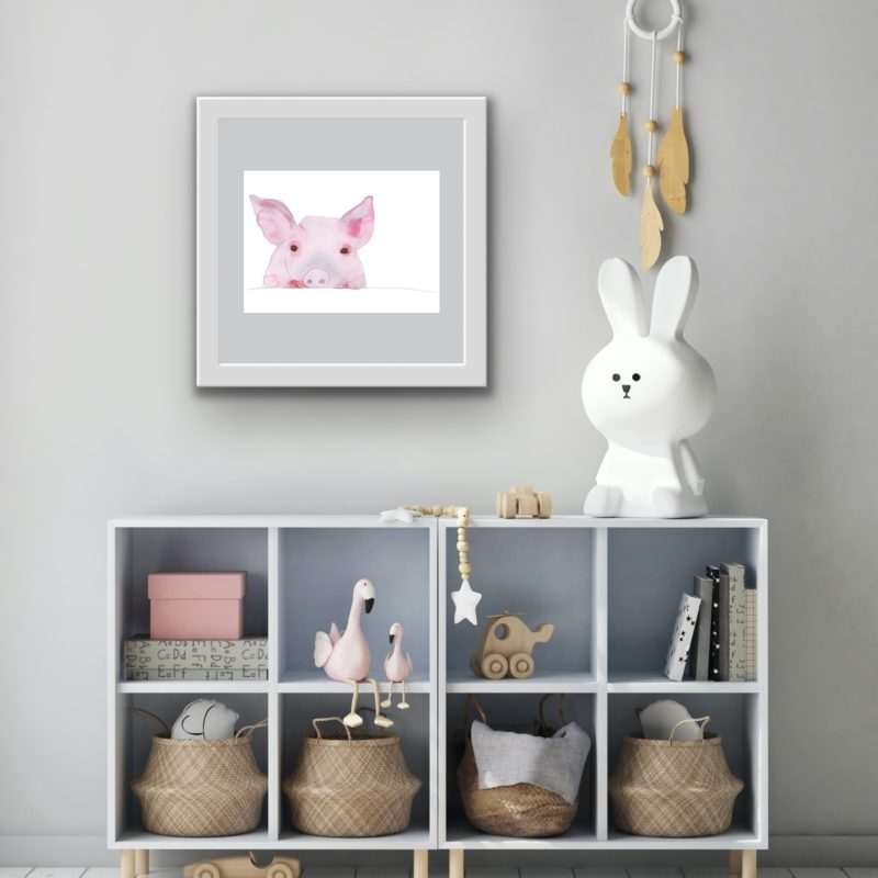 piglet wall art by catherine dunne